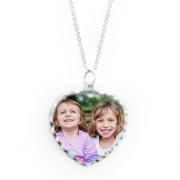 Personalized Heart Color Photo Pendant In Sterling Silver