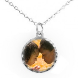 Personalized Petite Round Color Photo Pendant In Sterling Silver