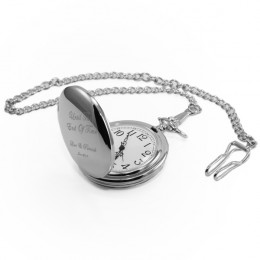 Stainless Steel Engraved Pocket Watch