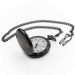 Engraved Black Pocket Watch In Stainless Steel