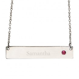 Engraved Sterling Silver Birthstone Name Bar Necklace