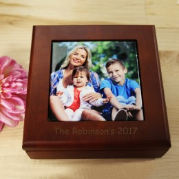 Personalized Photo Keepsake Box in Mahogany Finish