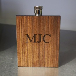 Wood Paneled Rosewood Slim Engraved Flask