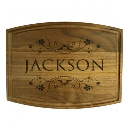 Personalized Vine Design Walnut Cutting Board