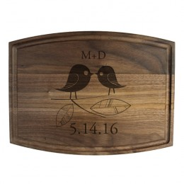 Lovebirds Walnut Personalized Cutting Board
