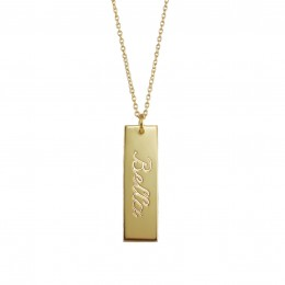 Engraved Cut Out Vertical Name Bar Necklace