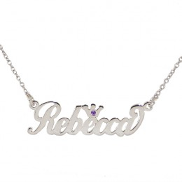Personalized Script Name Necklace with Birthstone Crown