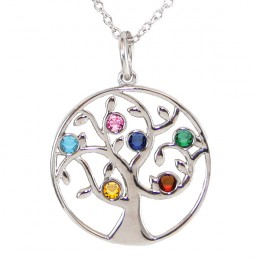 Family Tree Birthstone Necklace - 6 Birthstone Pendant