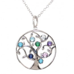 Family Tree Birthstone Necklace - 8 Birthstone Pendant