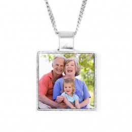 Personalized Square Bezel Set Color Photo Pendant