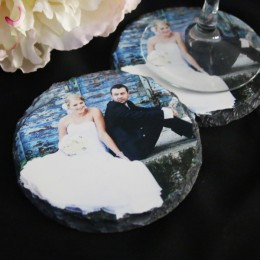 Personalized Round Photo Slate Coaster