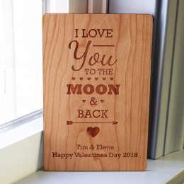 I Love You To The Moon & Back Personalized Wood Card