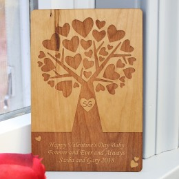 Tree of Hearts Personalized Wooden Card