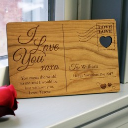 I Love You Personalized Wooden Postcard