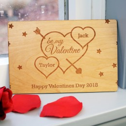 Be My Valentine Personalized Wood Card