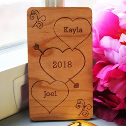 Message Hearts Personalized Wooden Wallet Size Card