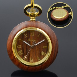 Engraved Wood Case Roman Numeral Pocket Watch