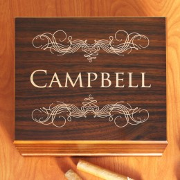 Personalized Cigar Humidor with Walnut Finish 25 - 50 Count