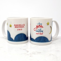 Thoughtful and unique gift for her, I love you to the moon and back mug