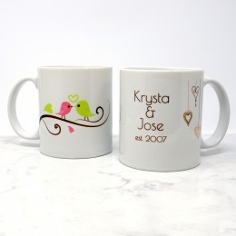 This personalized lovebirds on a branch coffee mug will make a sweet and delightful Valentine's day gift for him and her