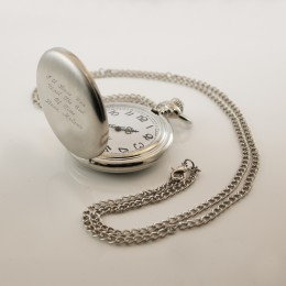 Personalized Pocket Watch with Brushed Steel Finish