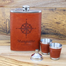 Vintage Compass Personalized Brown Leather Flask Set