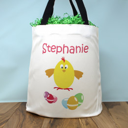Personalized Egg Hunt Easter Chick Tote Bag