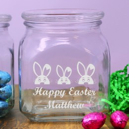 Easter Bunnies Personalized Easter Candy Jar