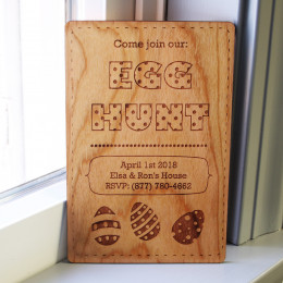 Easter Egg Hunt Personalized Wood Invitations
