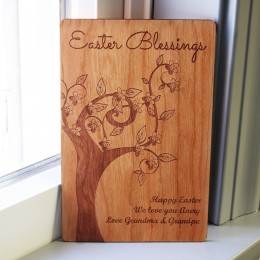 Easter Blessings Personalized Wood Greeting Card