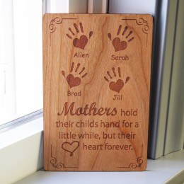 Children's Handprints Personalized Wood Carved Mother's Day Card