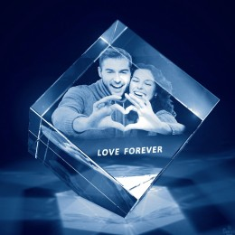 3D Photo Engraved Diamond Cube Crystal
