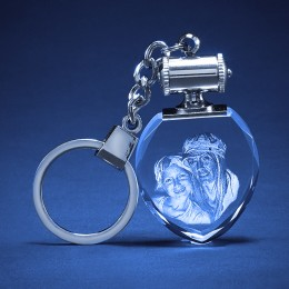 3D Photo Engraved Heart Crystal Keychain