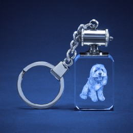 3D Photo Engraved Crystal Tower Keychain
