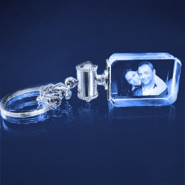 3D Photo Engraved Crystal Rectangle Keychain