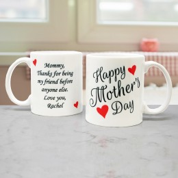Personalized Happy Mother's Day Coffee Mug with Message - 11 oz