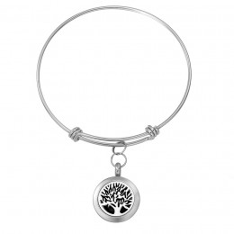 Personalized Tree of Life Essential Oil Locket Bangle Bracelet