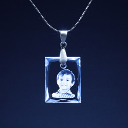 3D Personalized Photo Crystal Square Pendant