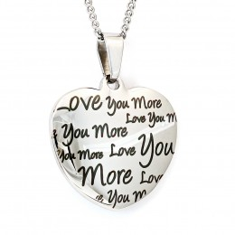 Custom Engraved Love You More Heart Pendant