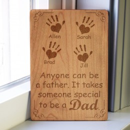 Children's Handprints Personalized Wood Carved Father's Day Card