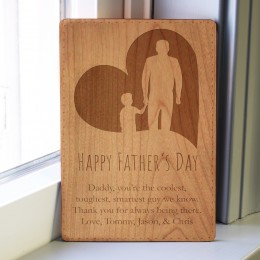 Father and Child Wood Engraved Father's Day Card