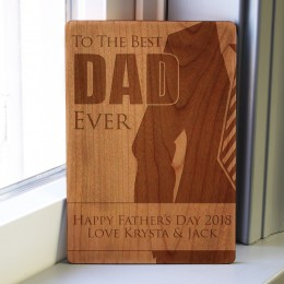 Best Dad Ever Wood Carved Father's Day Card